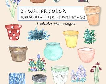 CLIP ART- Watercolor Vintage Terracotta Pots & Flower Set. 25 Images. Digital Download. Flower. Nature. Pot. Planter.