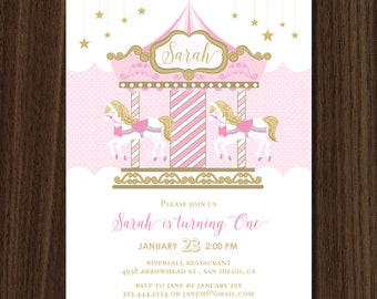 DIGITAL FILE Carousel Merry Go Round Invitation, Carousel Invite, Merry Go Round Party, Carousel Birthday, Pink Carousel, Blue Carousel