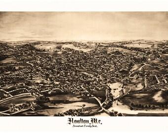 Houlton, Me. Aroostook County seat Antique Birdseye Map; 1894