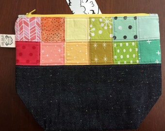 Small Size Zippered Patchwork Project Bag