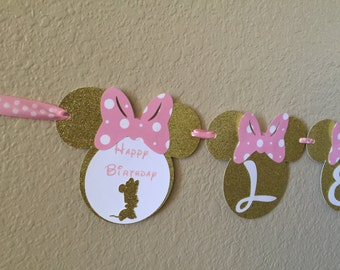Minnie Mouse Birthday ALL-IN-ONE Banner, Minnie Mouse Party, Minnie Mouse Birthday, Pink and Gold Minnie, name banner