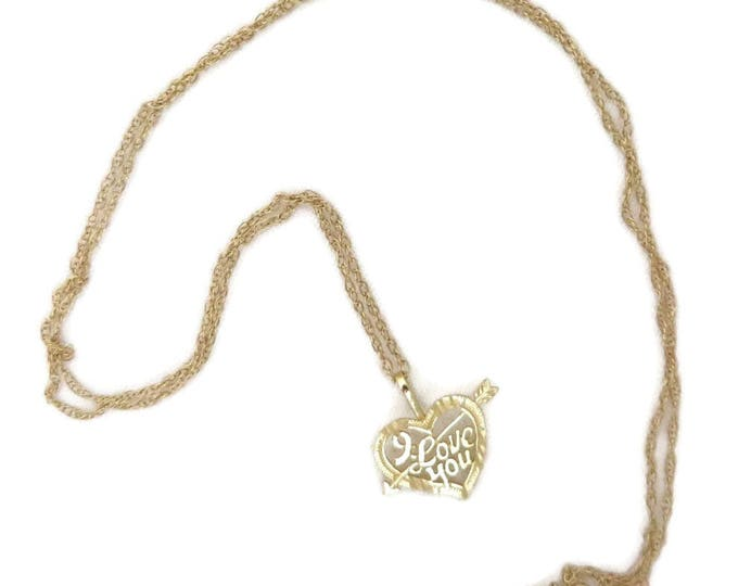 Gold Necklace, Solid Gold Necklace, Heart Necklace, Vintage Necklace, I Love Your Necklace, Love Necklace, Gift For Her, Dainty Necklace