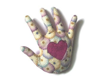 Heart in Hand Pin ~ Fabric Hamsa Brooch ~ Ready to Ship