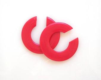 Huge Red Hoops, Large Plastic Hoop Earrings, Open Acrylic Hoop, Bright Red Hoop Pendant, set of 2