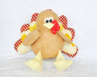 Tully the Turkey PDF Sewing Pattern | Thanksgiving Softie | Children's Toy | Stuffed Animal