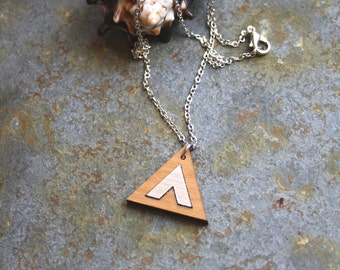 Triangle pendant, wooden graphic necklace, chevron silver color detail, geometric chic modern minimal, perfect woman present, made in France