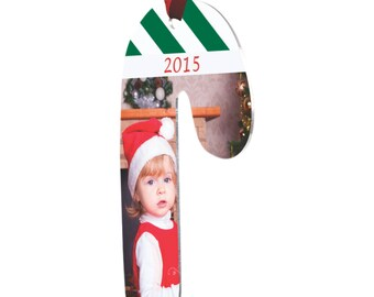 2 Sided Aluminum Candy Cane Christmas Ornament