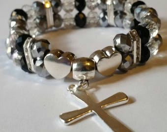 Religious Christian Jewelry Cross Heart Bracelet Religious Jewelry Christian Bling BR35