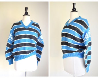 Vintage Striped V Neck Sweater / Wool Jumper