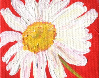 Shasta Daisies Painting original acrylic painting canvas art, mini easel, small floral art, daisies painting, flowers on canvas, flowers art