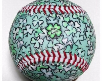For Luck Baseball, Gift baseball, Baseball Fan, Baseball Lover, St Patrick's day, Good Luck Baseball (OCCASION14)