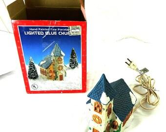 Vintage Porcelain Lighted Christmas Village Church Decor
