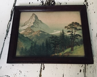 Vintage lithograph style print of the Matterhorn Alps Switzerland Italy Mountain scenery oak framed old picture