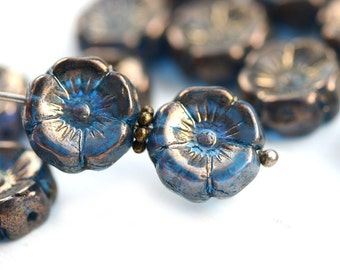 12mm Dark Blue Pansy flower bead, Lustered Czech glass Flowers, Daisy, Blue Bronze Luster floral beads - 10pc - 0884