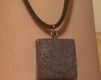 Purple Glitter Square Suede Leather Choker