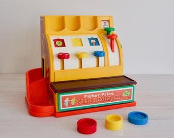 RESERVED    70s - Fisher Price  #926 Cash Register 3 coins included