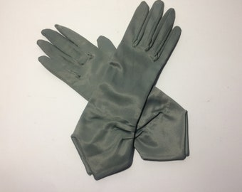 Vintage Grey Satin Gloves, Grey Stretch Gloves, Evening Gloves, Dress Gloves, Vintage Wedding, Ball, Prom Gloves