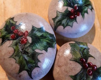 hand painted stone paperweight, holly and berries paperweight, stone art, rock painting, pebble art