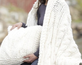 "Handmade 100% soft wool blanket / throw and pillowcase with cables, blanket size  80 x 130 cm / 31 x 51"" (without fringes)"