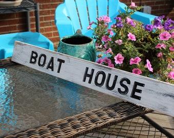 Beach Sign Vintage Style  Boat House Nautical Coastal and Nursery Decor