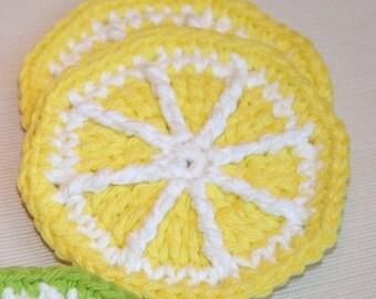 4 Crochet Lemon Citrus Slices coaster mini doily