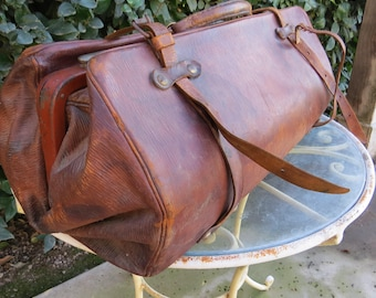 Antique French Doctor's Bag Leather Large Size 22inches long Traveling Doctor, Country Doctor, House Calls Doctor with Sturdy Leather Handle