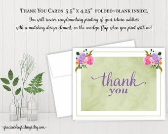 Thank You Cards, Thank You Notes, Thank You Stationery, Personalized Thank You Cards, Birthday, Bridal, Baby Shower, Printable TY606