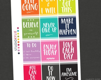 Motivation Planner Stickers - Repositionable Vinyl Stickers - To suit most planners