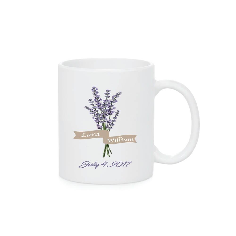 Lavender Mugs Flower Mug Wedding Date Mug Wedding Gift