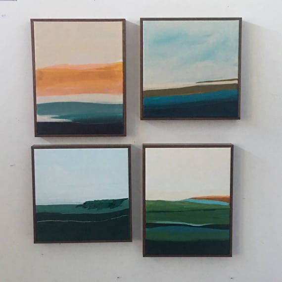 Set of 4 - Modern Abstract Original Seascapes for Gallery Wall