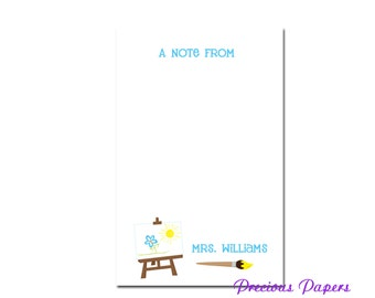 Personalized art teacher notepad with an easel and paint brush  artist gift