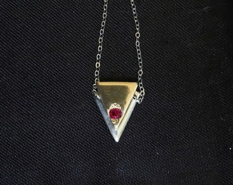 Ruby one 14k gold and silver triangle