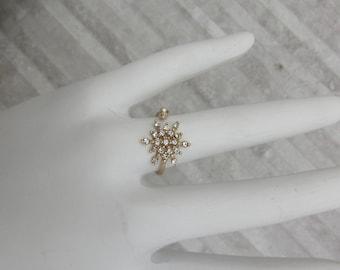Gold Snowflake Ring Adjustable