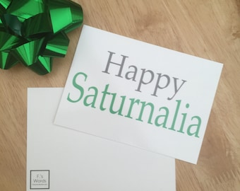Christmas Gift Tag Happy Saturnalia | Roman Mythology Postcard Christmas Stocking Filler | Percy Jackson | Gift for History Student