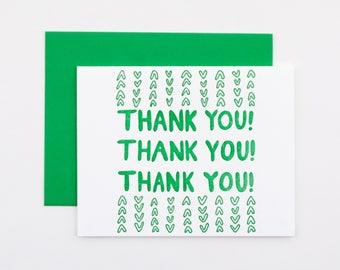 Lush Thank You Letterpress Card | green thank you card