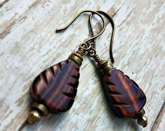 Carved Tiger's eye earrings-Tigers eye earrings on silver , gold, or antique brass