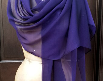 Purple Chiffon Shawl Wrap Scarf with Rhinestone