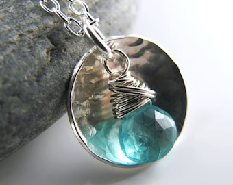 New Beginnings Necklace - Sterling Silver, Textured Domed Disc, Apatite Briolette