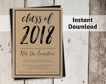 2018 Graduation Party Invitation Template - Women / Men or Girls / Boys High School or College - Printable Instant Download Digital File PDF