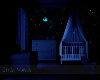 Star Ceiling | Moon and 2 Shooting Star Decals | 200 - 1000 Glow in the Dark Star Stickers