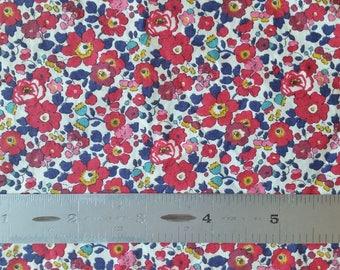 Liberty London Betsy Ann A Red Tana Lawn Fabric Half Yard
