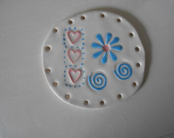 Fun Flower and Swirls and Hearts Pine Needle Base