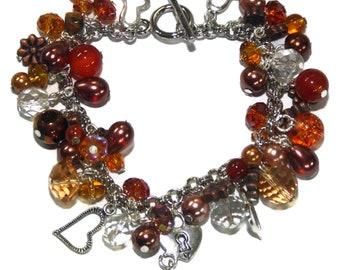 Bracelet waterfall brown tone glass beads