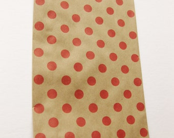 """Set of 10 NEW Red Polka Dot on Kraft Middy Bitty Bags (5"""" x 7.5"""")"""