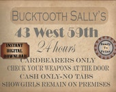 Speakeasy Card Printable Bucktooth Sally's Sign Prohibition Roaring 20s Style Art Deco Gatsby Party Wedding Centerpiece Bar Front Door Sign