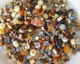 Small bead mix, destash beads, wood beads, gemstone beads, seed beads, glass beads, bead lot, BOHO beads