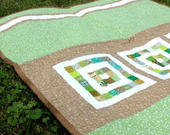 Modern Patchwork Quilt,Textile Wall Hanging, Play mat, Stroller Quilt, in Green, White and Brown by Nstarstudio