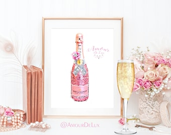 Champagne, Champagne Print, Printable Art, Watercolor, Illustration, Pink and Pearls, Hot Pink, Glitter, Sparkle, Glam, Pastel, Creative,
