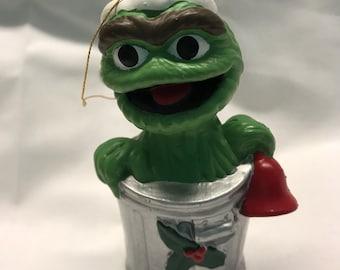 Vintage Sesame Street Oscar The Grouch Christmas Ornament