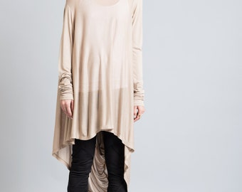 Sheer Tunic / Loose Fitting Top / Asymmetrical Blouse / Long Sleeve Tunic / Casual Tunic / Long Top / Marcellamoda - MB0103